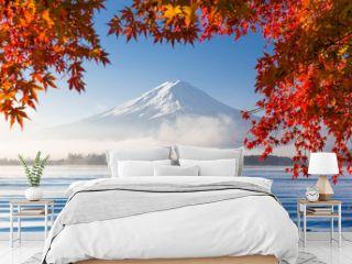 Mt. Fuji and Kawaguchiko lake with morning fog in autumn