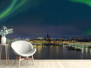 Stockholm Panorama bei Nacht mit NOrdlicht
