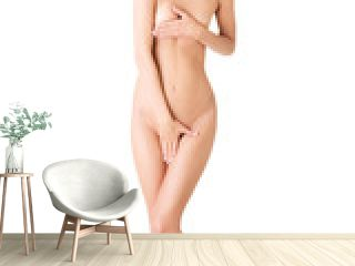 Shy naked woman covering her intimate places