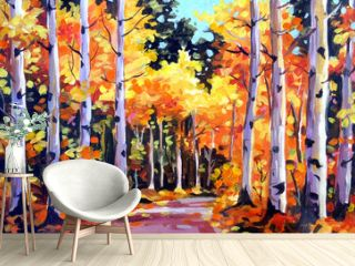 Beauty of Autumn Forest - Acrylic on Canvas Painting