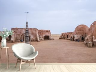 Exterior view of the original film set used in Star Wars as Mos