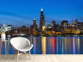 City of Chicago Skyline and Night Lights