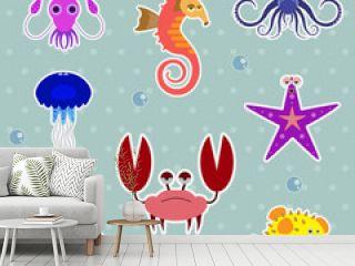Vector Funny Sea Creatures Animal Stickers Set.