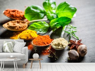 Intensive spices and herbs on old table