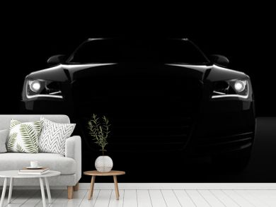 Computer generated image of a sports car, studio setup, on a dark background.