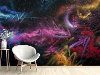 Mur de graffiti abstrait