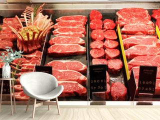 Fresh raw red meat in supermarket