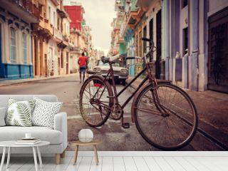 Old bicycle on the street, Havana, Cuba, 20 december 2014.
