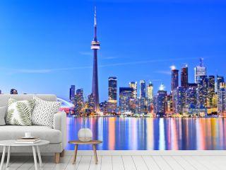 Panorama of Toronto skyline in Ontario, Canada.