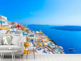 View to the sea and Volcano Fira in Santorini island in Greece