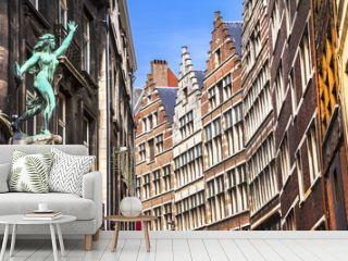 Traditional flemish architecture in Antwerpen city. Belgium