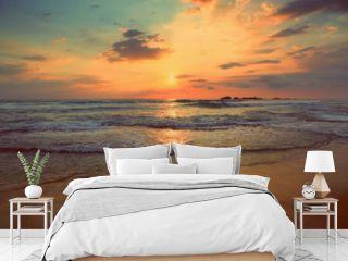 tropical sea sunset - vintage retro style