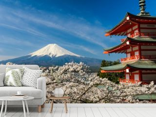 Mount Fuji with pagoda and cherry trees, Japan