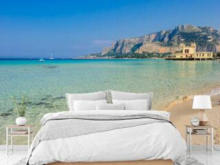 A beautifil view of Palermo from Mondello beach, Sicily, Italy.