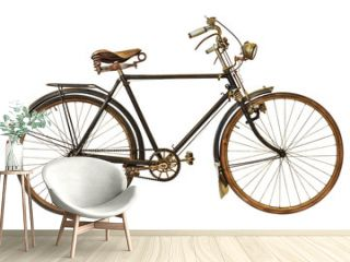 Vintage rusted bicycle isolated on white