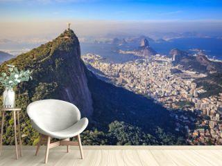 Aerial view of Christ the Redeemer and Rio de Janeiro city
