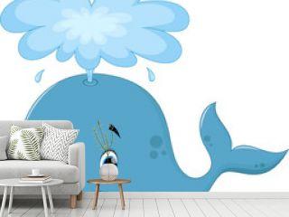 Vector illustration of cute whale cartoon