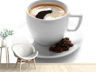A cup of tasty coffee and grains, isolated on white