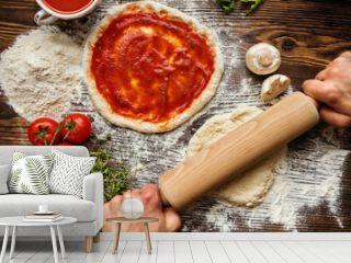 Fresh original Italian raw pizza preparation