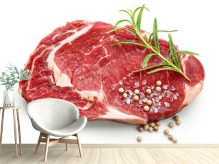 fresh raw beef steak with spices