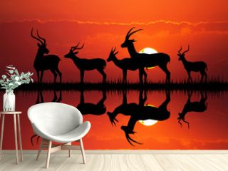gazelle silhouette in African landscape