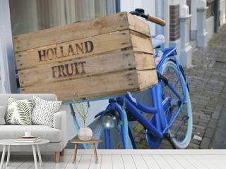 blue delivery bike