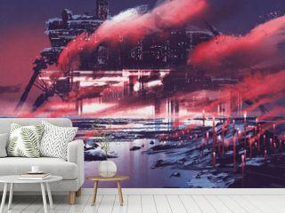 sci-fi scene of industrial city,illustration painting
