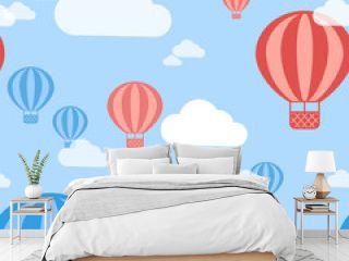 Vector Hot Air Balloon Seamless Pattern Background