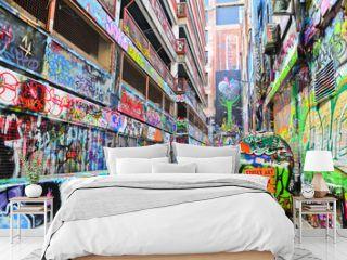 View of colorful graffiti artwork at Hosier Lane in Melbourne