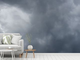 Cloudy sky panorama. Thunderclouds over horizon, cloudscape.