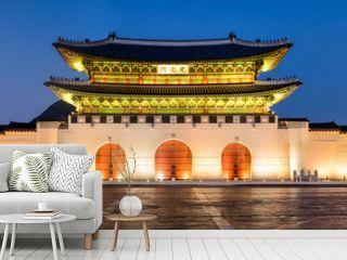 Gyeongbokgung Palast in Seoul Korea als Panorama bei Nacht