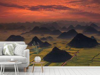 Sunrise with landscape of China