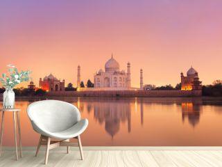 Taj Mahal in Agra, India on sunset