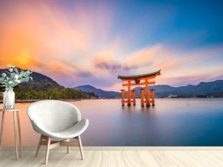 Miyajima Shrine Gate in Hiroshima, Japan.