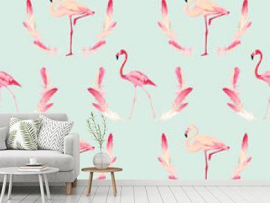 Flamingo Bird Background. Retro Seamless Pattern. Vector Feather