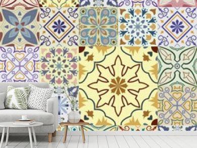 Big set of vector tiles background.