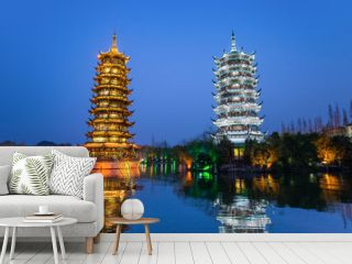 Sun and Moon Pagodas in downtown of Guilin, Guangxi Province, Ch