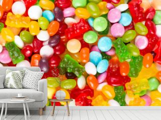 Colorful candies and jellies