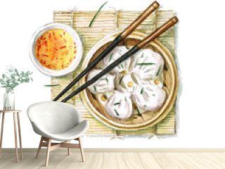 Watercolor Food Painting - Dumplings