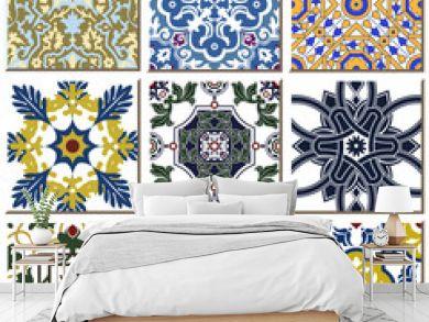 Vintage retro ceramic tile pattern set collection 028