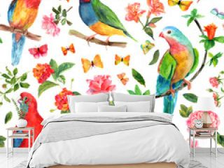 Seamless background with watercolor drawings of birds, roses and butterflies