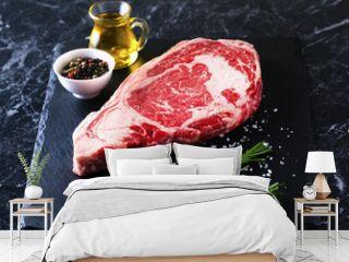 Raw beef steak ribeye loin marble