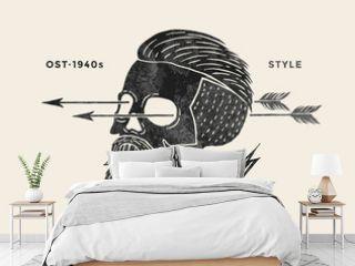 Poster of vintage skull hipster label. Retro old school set for t-shirt print. Vector Illustration.