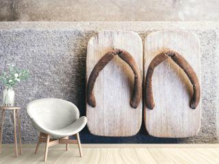 Japan Traditional Footwear Zori on floor Top view