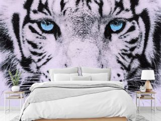 texture of print fabric striped the white tiger face