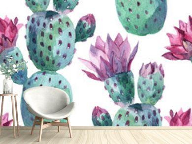 Watercolor seamless cactus pattern