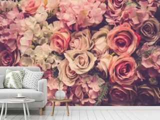 Valentine day background. Retro pink roses flower background
