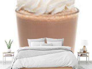 vanilla chocolate milkshake with whipped cream and cherry isolated