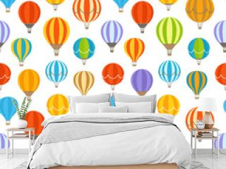 Different colorful air balloons seamless background