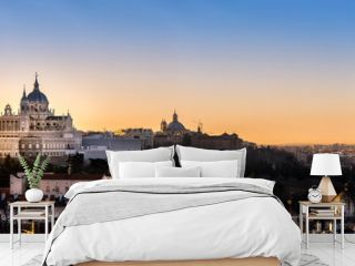 Madrid,Spain skyline and  Almudena Cathedral at sunrise